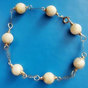 Vintage Jewelry - Vintage 1/20 GF Filigree MOP Tan Bead Bracelet